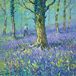 A Walk in the Bluebells by James Preston - Original Painting on Box Canvas sized 24x24 inches. Available from Whitewall Galleries
